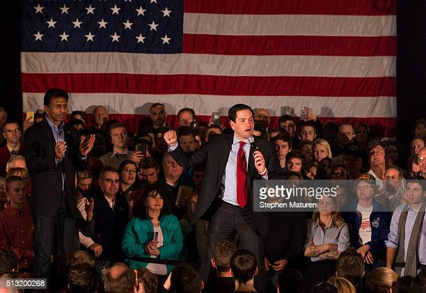 Republican presidential candidate Sen Marco Rubio speaks to a crowd of supporters Courtyards of Andover Event Center in Andover MN Rubio joined...