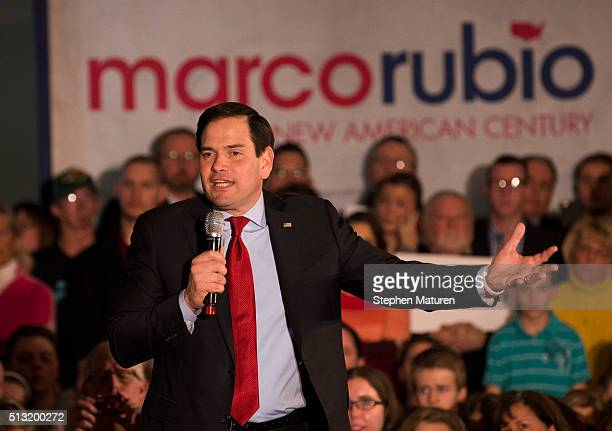 Republican presidential candidate Sen Marco Rubio speaks to a crowd of supporters Courtyards of Andover Event Center in Andover MN Rubio is hoping to...