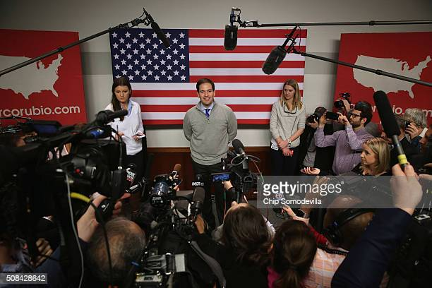 Republican presidential candidate Sen Marco Rubio talks to members of the news media following a campaign town hall event at the New Hampshire...