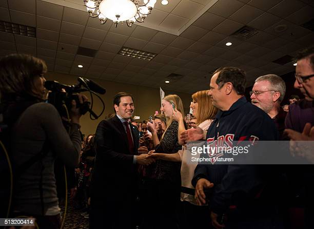 Republican presidential candidate Sen Marco Rubio walks out to speak to a crowd of supporters Courtyards of Andover Event Center in Andover MN Rubio...