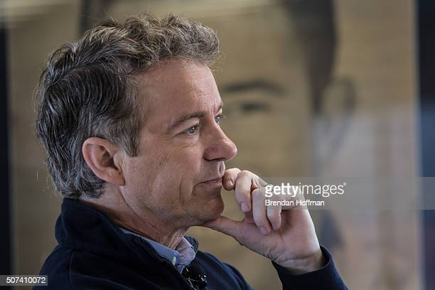 Republican presidential candidate Sen Rand Paul is introduced at a campaign event at the National Sprint Car Hall of Fame Museum on January 29 2016...
