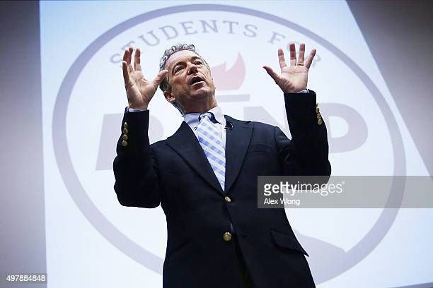 Republican presidential candidate Sen Rand Paul speaks during a Students For Rand Rally at George Washington University November 19 2015 in...