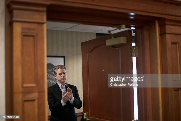 Republican presidential candidate Sen Rand Paul waits in the wings to be introduced at a campaign event at the Holiday Inn on January 30 2016 in...