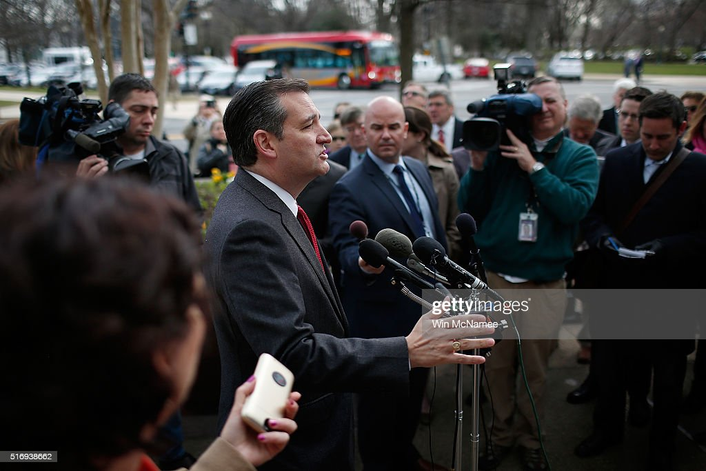 Republican presidential candidate Sen. Ted Cruz (R-TX) addresses the bombings in Brussels during remarks March 22, 2016 in Washington, DC. Reports indicate at least 34 people have died and scores more injured in the bombings at the airport and Metro.