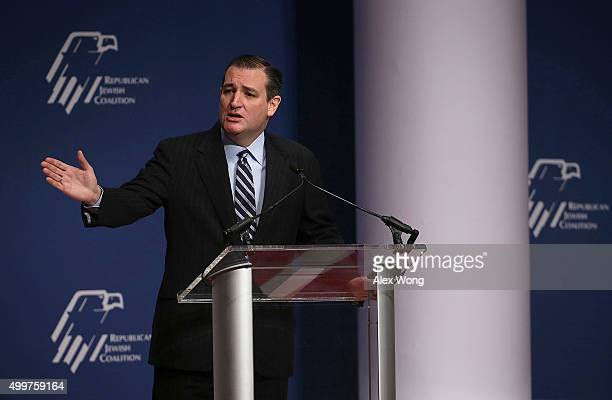 Republican presidential candidate Sen Ted Cruz addresses the Republican Jewish Coalition at the Ronald Reagan Building and International Trade Center...