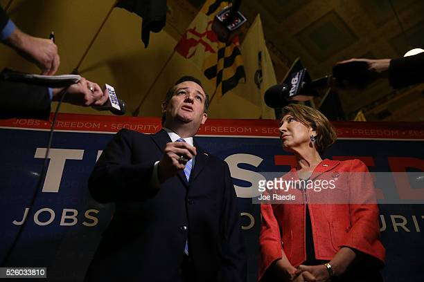 Republican presidential candidate Sen Ted Cruz and his Vice Presidential candidate former HewlettPackard chief executive Carly Fiorina speak with the...