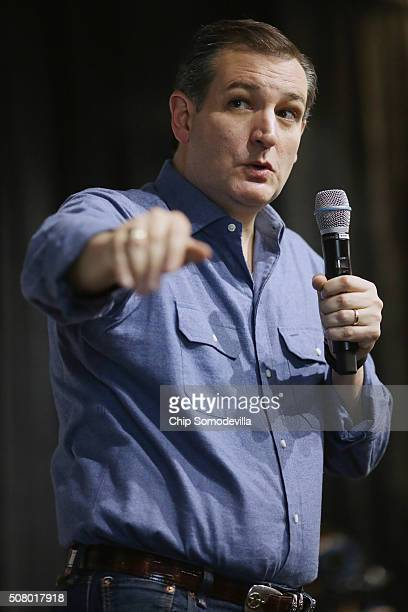 Republican presidential candidate Sen Ted Cruz answers questions during a campaign town hall meeting at the Crossing Life Church February 2 2016 in...