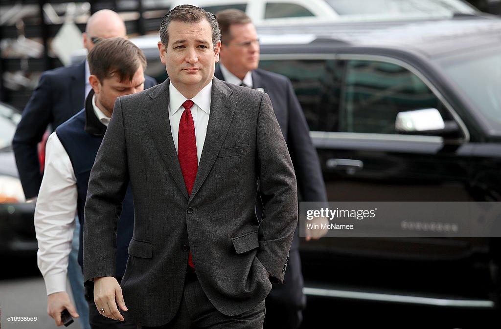 GOP Presidential Candidate Ted Cruz Addresses Recent Terror Attacks In Belgium : News Photo