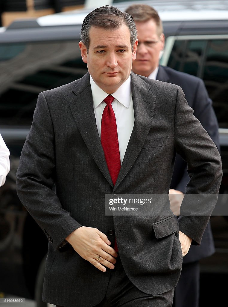 Republican presidential candidate Sen. Ted Cruz (R-TX) arrives to address the bombings in Brussels during remarks March 22, 2016 in Washington, DC. Reports indicate at least 34 people have died and scores more injured in the bombings at the airport and Metro.
