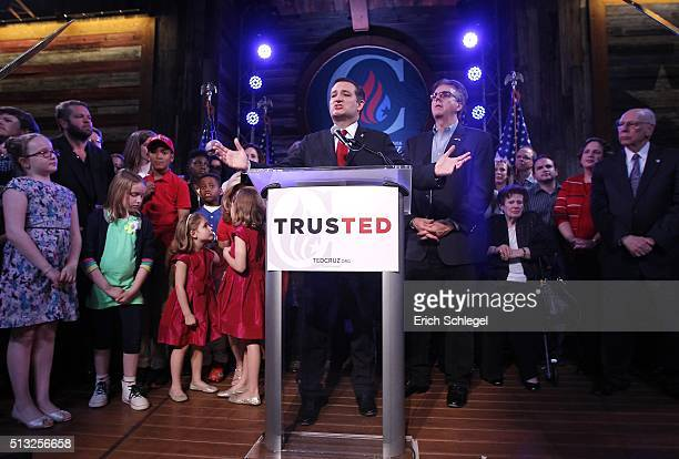 Republican presidential candidate Sen Ted Cruz celebrates at a Super Tuesday watch party at the Redneck Country Club March 1 2016 in Stafford Texas...