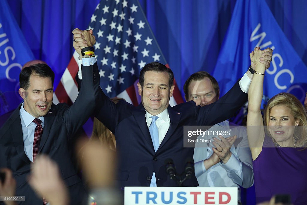GOP Presidential Candidate Ted Cruz Holds Wisconsin Primary Night Gathering In Milwaukee : News Photo