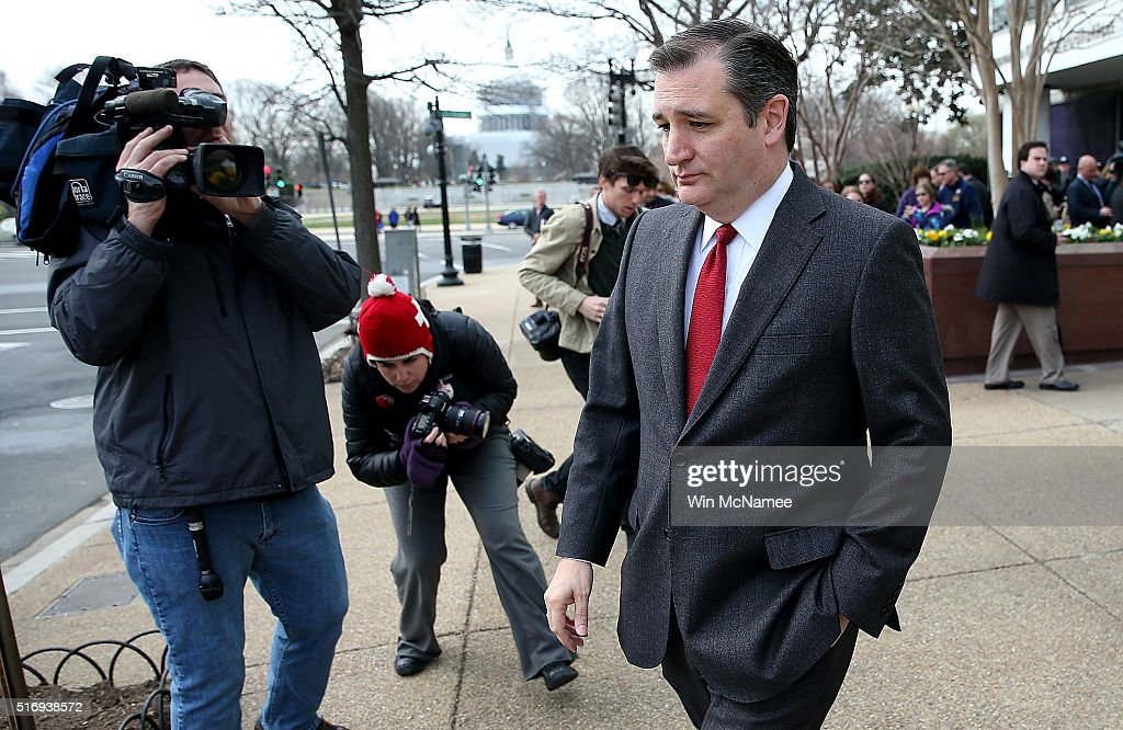 Republican presidential candidate Sen. Ted Cruz (R-TX) departs after addressing the bombings in Brussels during remarks March 22, 2016 in Washington, DC. Reports indicate at least 34 people have died and scores more injured in the bombings at the airport and Metro.
