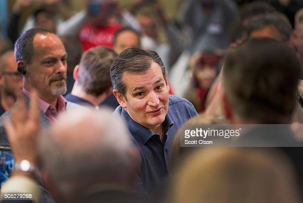 Republican presidential candidate Sen Ted Cruz greets guests after arriving for a speech at the 2016 South Carolina Tea Party Coalition Convention on...