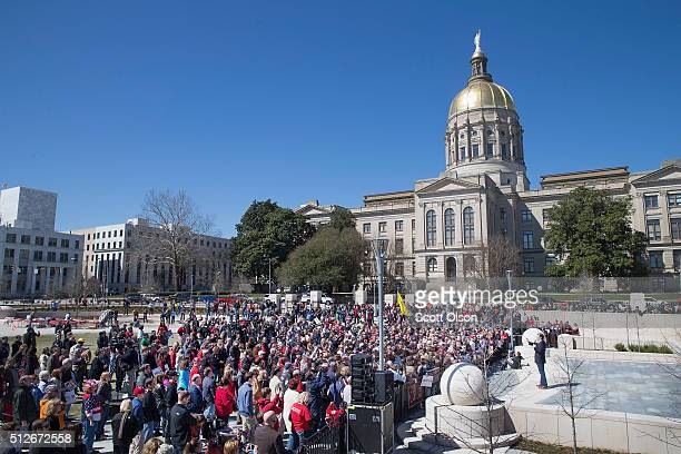 Republican presidential candidate Sen Ted Cruz host a rally across from the state capital building on February 27 2016 in Atlanta Georgia Cruz is in...