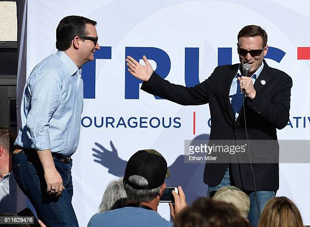 Republican presidential candidate Sen Ted Cruz is introduced by Nevada Attorney General Adam Laxalt at a rally on February 21 2016 in Pahrump Nevada...