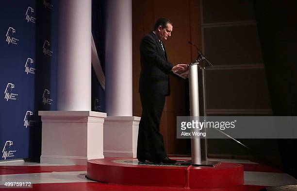 Republican presidential candidate Sen. Ted Cruz leads a moment of silence for victims of the San Bernardino shooting prior to his address to the...