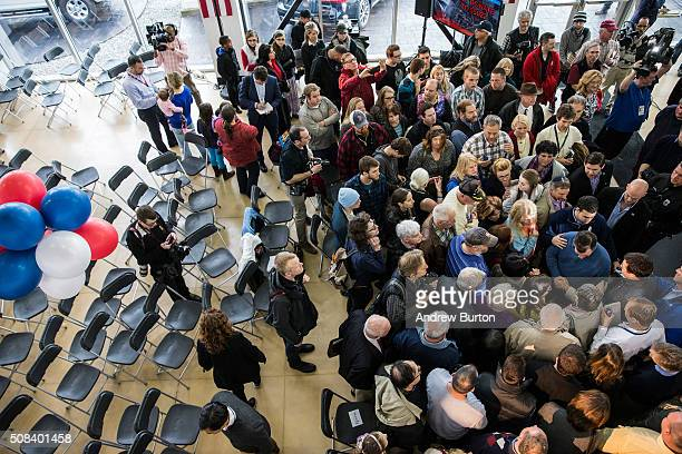 Republican presidential candidate Sen Ted Cruz meets with attendees after speaking at a town hall meeting at a Toyota dealership on February 4 2016...