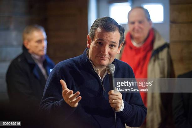 Republican presidential candidate Sen Ted Cruz speaks as he campaigns at Tuckaway Tavern and Butchery on February 8 2016 in Raymond New Hampshire...