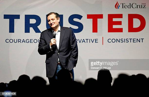 Republican presidential candidate Sen Ted Cruz speaks at a rally at Gilley's Dallas the day before Super Tuesday February 29 2016 in Dallas Texas...