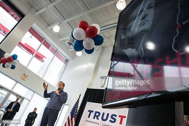 Republican presidential candidate Sen Ted Cruz speaks at a town hall meeting at a Toyota dealership on February 4 2016 in Portsmouth New Hampshire...