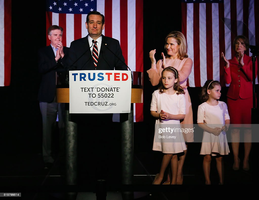 Republican presidential candidate Sen. Ted Cruz (R-TX) speaks at a watch party as his wife, Heidi Cruz, and daughters Catherine Cruz and Caroline Cruz and colleagues Carly Fiorina (R) and Lt. Gov. Dan Patrick (L) look on, March 15, 2016 in Houston, Texas. Cruz is in a tight race with Donald Trump in the Missouri GOP primary, while Trump took Florida, North Carolina, and Illinois. Gov. John Kasich won his home state of Ohio.