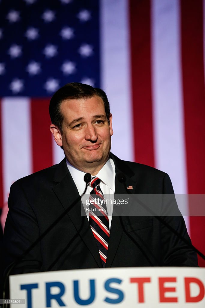 Republican presidential candidate Sen. Ted Cruz (R-TX) speaks at a watch party on March 15, 2016 in Houston, Texas. Cruz is in a tight race with Donald Trump in the Missouri GOP primary, while Trump took Florida, North Carolina, and Illinois. Gov. John Kasich won his home state of Ohio.
