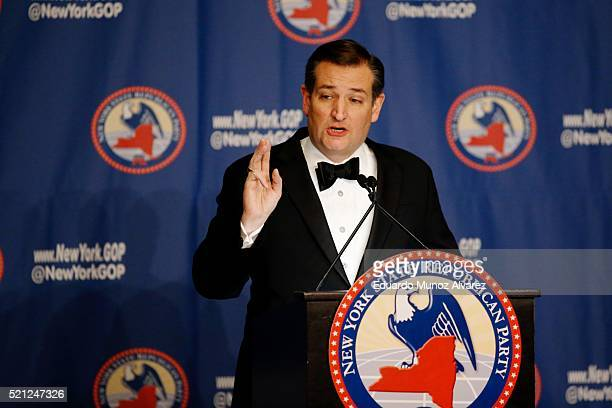 Republican presidential candidate Sen Ted Cruz speaks at the 2016 annual New York State Republican Gala on April 14 2016 in New York City Donald...