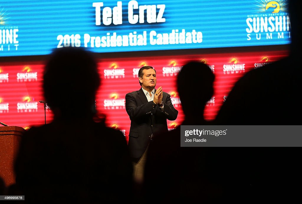 Republican presidential candidate Sen. Ted Cruz (R-TX) speaks during the Sunshine Summit conference being held at the Rosen Shingle Creek on November 13, 2015 in Orlando, Florida. The summit brought Republican presidential candidates in front of the Republican voters.