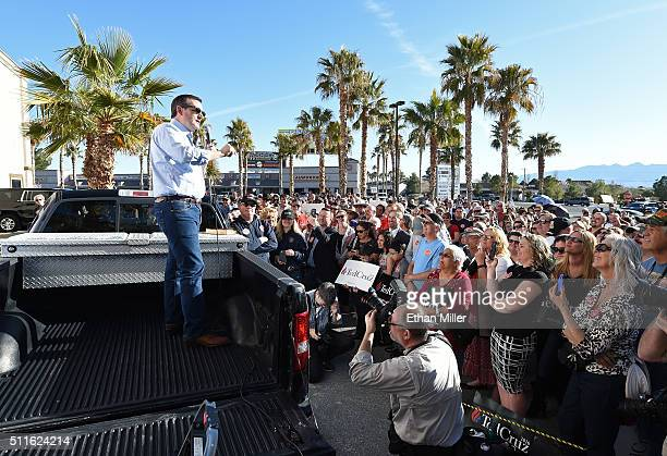 Republican presidential candidate, Sen. Ted Cruz speaks from the back of a pickup truck at a rally on February 21, 2016 in Pahrump, Nevada. Cruz is...
