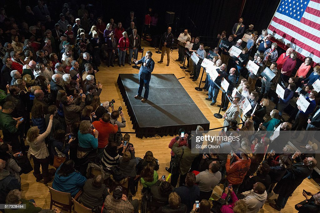 Republican presidential candidate Sen. Ted Cruz (R-TX) speaks to guests during a campaign stop at the Armory on March 24, 2016 in Janesville, Wisconsin. Wisconsin voters go to the polls for the state's primary on April 5.