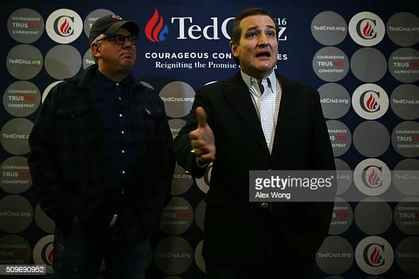 Republican presidential candidate Sen. Ted Cruz speaks to members of the media as radio talk show host Glenn Beck looks on at Morningstar Fellowship...
