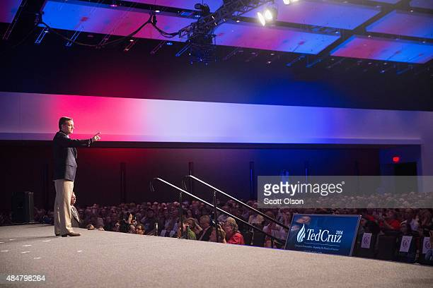 Republican presidential candidate Sen Ted Cruz speaks to supporters at his Religious Liberty Rally on August 21 2015 in Des Moines Iowa Earlier in...