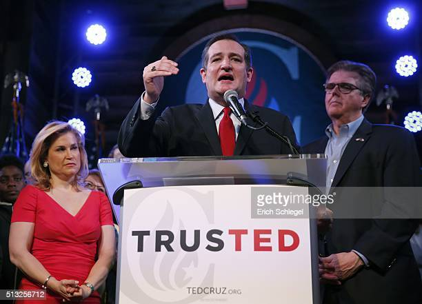 Republican presidential candidate Sen Ted Cruz with wife Heidi and Texas Attorney General Dan Patrick by his side celebrates at a Super Tuesday watch...