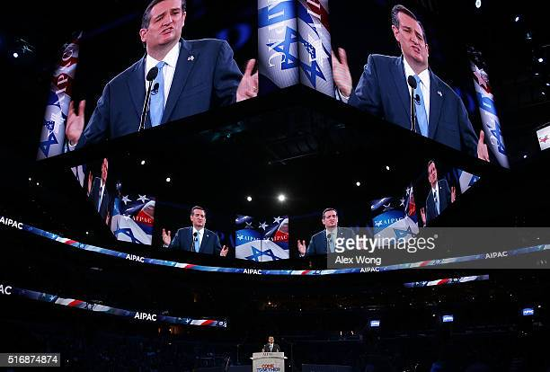 Republican presidential candidate Senator Ted Cruz addresses the annual policy conference of the American Israel Public Affairs Committee March 21...