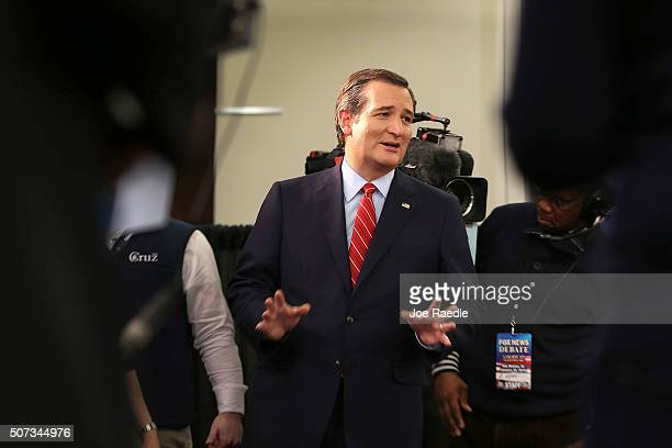 Republican Presidential candidate SenÊTed CruzÊ speaks to reporters after the Republican Presidential debate sponsored by Fox News and Google at the...