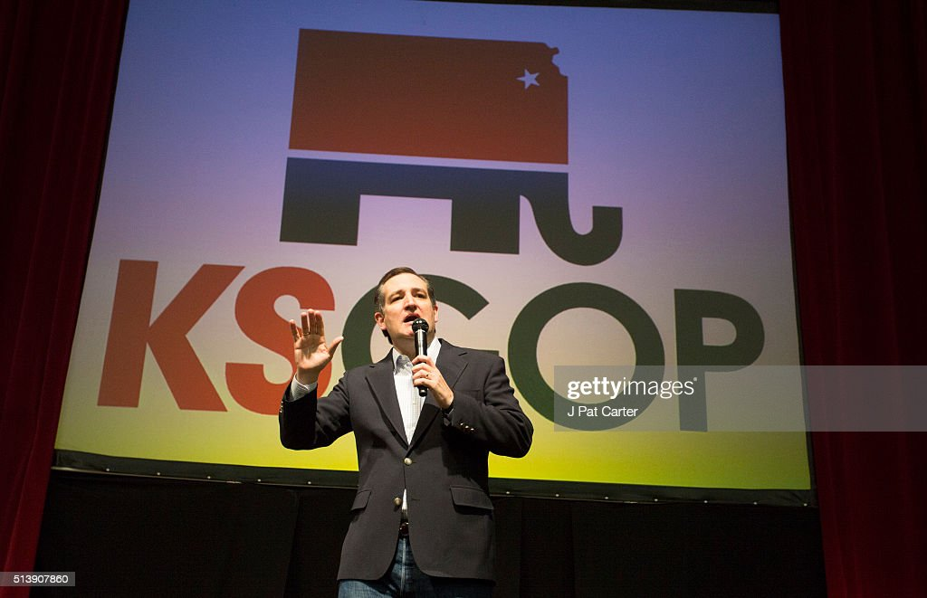 Republican presidential candidate Ted Cruz makes a speech at a campaign rally on March 5, 2016 in Wichita, Kansas. Cruz said he has a list of government programs that he will eliminate if elected.