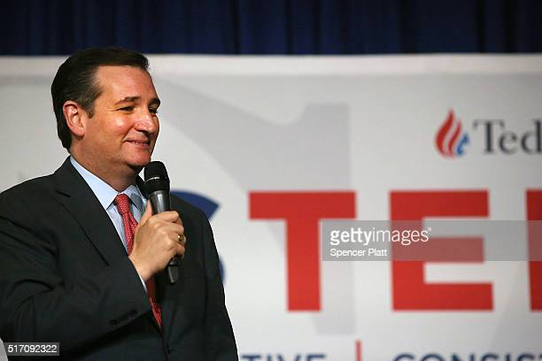 Republican presidential candidate Ted Cruz speaks during an appearance in New York on March 23 2016 in New York City Cruz who is now in second place...