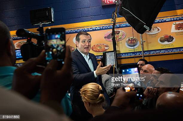 Republican presidential candidate Ted Cruz speaks to an audience at the restaurant Sabrosura 2 on April 6 2016 in the Bronx borough of New York City...