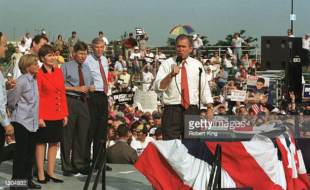 Republican presidential candidate Texas Governor George W. Bush speaks to supporters at the Florida International University November 5, 2000 in...
