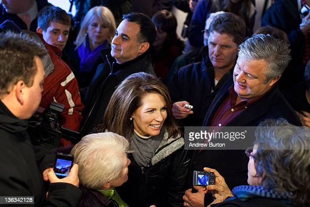 Republican presidential candidate US Rep Michelle Bachmann speaks to supporters at Paula's Cafe on January 2 2012 in West Des Moines Iowa The GOP...