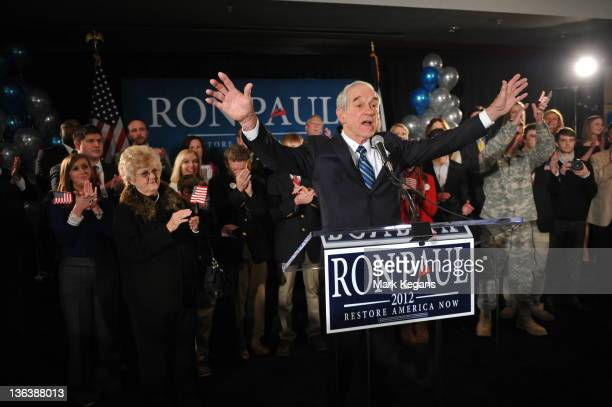 Republican presidential candidate US Rep Ron Paul greets supporters at the Courtyard Des Moines Ankeny in Ankeny Iowa after his thirdplace finish in...
