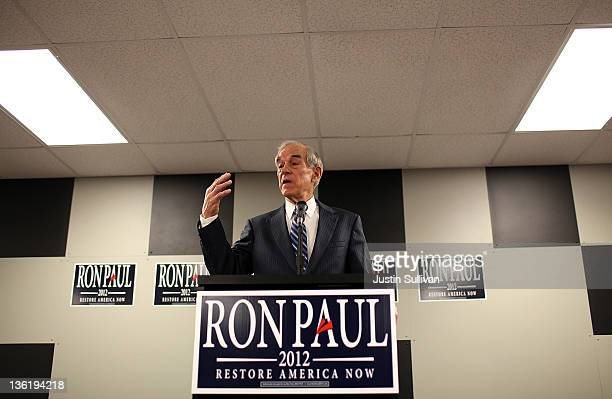 Republican presidential candidate US Rep Ron Paul speaks during a town hall meeting at the Iowa Speedway on December 28 2011 in Newton Iowa With less...