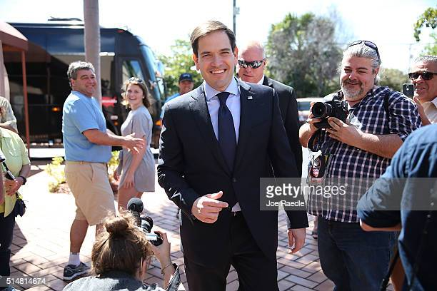Republican presidential candidate US Sen Marco Rubio arrives to speak to the media for a press conference at the Temple Beth El to discuss his...