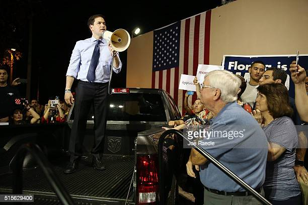 Republican presidential candidate US Sen Marco Rubio speaks during a campaign rally at the City of West Miami Recreation Center on March 14 2016 in...
