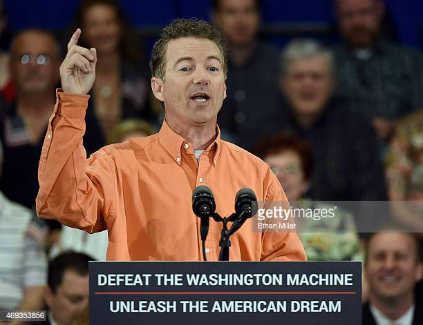Republican presidential candidate US Sen Rand Paul speaks during a rally at the Desert Vista Community Center on April 11 2015 in Las Vegas Nevada...