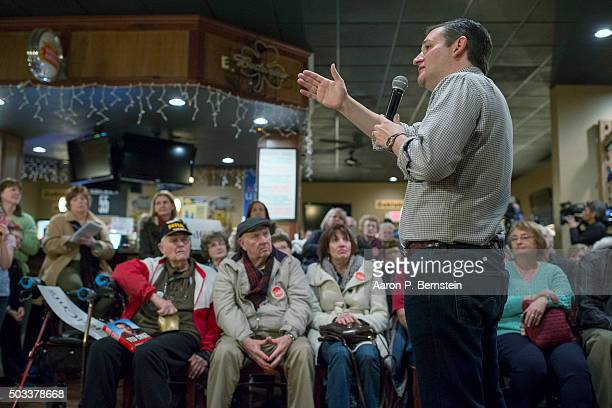 Republican presidential candidate US Sen Ted Cruz speaks at Charlie's Steakhouse on January 4 2016 in Carroll Iowa Cruz began a sixday bus tour of...
