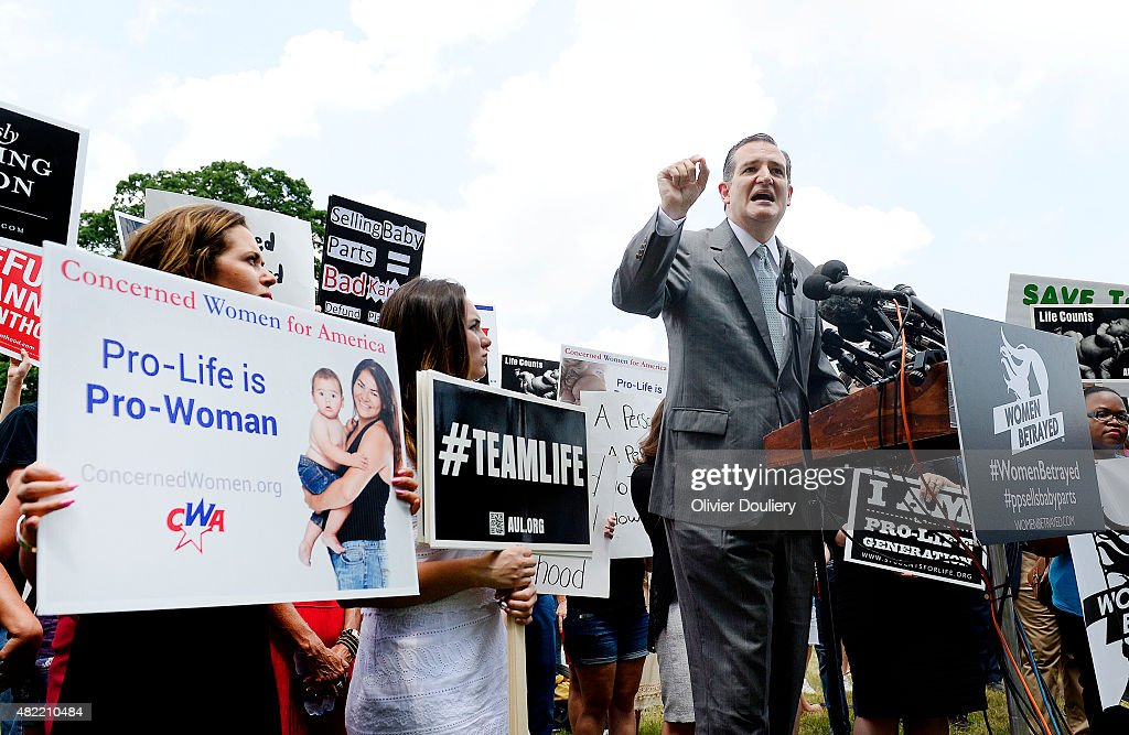 Republican presidential candidate, U.S. Sen. Ted Cruz (R-TX) speaks during a Anti-abortion rally opposing federal funding for Planned Parenthood in front of the U.S. Capitol July 28, 2015 in Washington, DC. Planned Parenthood faces mounting criticism amid the release of videos by a pro-life group and demands to vote in the Senate to stop funding.