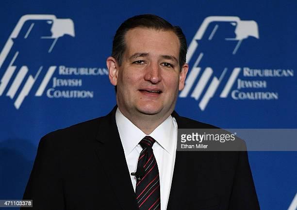Republican presidential candidate US Sen Ted Cruz speaks during the Republican Jewish Coalition spring leadership meeting at The Venetian Las Vegas...