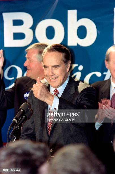 Republican presidential candidate US Senator Bob Dole flashs a thumbs up at a predebate rally in Manchester on February 15 1996 Senator Dole joined...