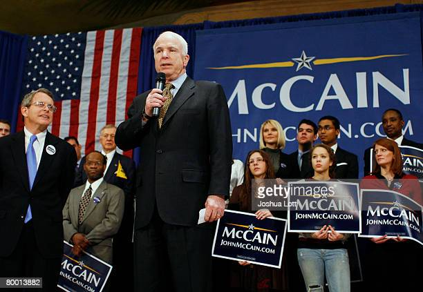 Republican presidential candidate US Senator John McCain speaks during a campaign rally at the Hamilton County Memorial Hall February 26 2008 in...